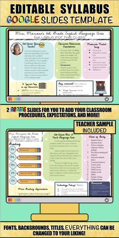 There are lots of syllabus templates on Teachers Pay Teachers, but this one is for you Google Suite users! This entire syllabus was created in Google Slides and can be used for any subject, any grade level. Classroom Procedures, Classroom Management, Classroom Ideas, Classroom Teacher, Middle School Classroom, Flipped Classroom, High School, Syllabus Template, Teacher Resources