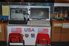 this whole webpage is pretty cool, a whole space themed play center Space Station- Imaginary Play Space Theme Preschool, Preschool Centers, Space Activities, Preschool Projects, Preschool Curriculum, Kindergarten, Dramatic Play Area, Dramatic Play Centers, Space Lab