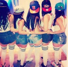 Girls in Snapbacks -- birthday/bachelorette party idear: get all my girls to dress up the same with cap of choice.