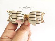 Hair+Bows+brown+and+beige+stripe+hair+clip+for+by+MeghanandJulie