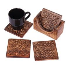 Christmas Thanksgiving Gifts Rustic Wooden Set of 4 Square Drink Coasters for Tea Coffee Beer Mug Wine Glass with Holder Hand Carved with Floral Motif Barware Kitchen Dining Accessories *** Check out this great image  : Christmas Decorations