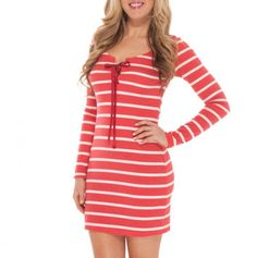 Long Sleeve Striped Dress - in red or brown! Cute for my old high school colors
