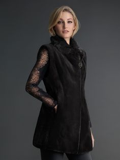 Dyed Black Sheared Mink vest with long-haired Mink collar #stylish #coat #fur #outwear at Flemington Furs - available online at FlemingtonFurs.com