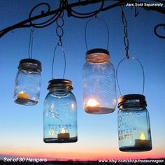 30 Hanging Candle Lantern Lids DIY Wedding Mason Jar Lights, Candle Holders, Outdoor Summer Country Garden Party, Lids Only. $90,00, via Etsy.
