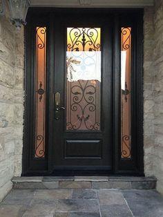 Woodgrain Wrought Iron Front Door with 2 Side lites installed in Richmond Hill by windowsanddoorstoronto - New Deko Sites Iron Front Door, Best Front Doors, Front Door Porch, Black Front Doors, Front Door Entrance, Door Entryway, Glass Front Door, Front Entry, Entry Doors