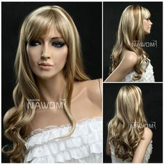 NAWOMI Curly Wavy Capless Kanekalon Synthetic Fiber Hair Wig Highlights Elegant Fluffy Soft cheap is hot sale, shop other cheap synthetic wigs online. Long Hair With Bangs, Wigs With Bangs, Very Long Hair, Hairstyles With Bangs, Celebrity Hairstyles, Haircuts, Bright Blonde, Blonde Color, Wig Styles