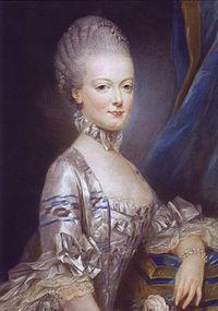 A arquiduquesa aos 14 anos de idade, no retrato oficial enviado a Versalhes. Pastel de Joseph Ducreux (1769).