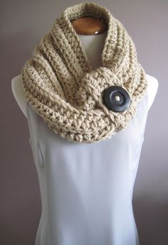 Chunky Bulky Button Crochet Cowl: Tan with Black or brown Wood Button