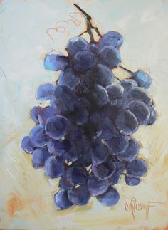 Daily Painting Still Life Grapes , 6x8, painting by artist Carol Schiff