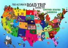 The United States is as vast as it is exciting! Stretching for thousands of miles, it literally takes days (non-stop) to drive from one end to the other which is no mean feat, especially if Rv Travel, Travel Maps, Travel Planner, Places To Travel, Travel Advice, Road Trip Planner, Travel Guides, Road Trip Usa, Family Road Trips