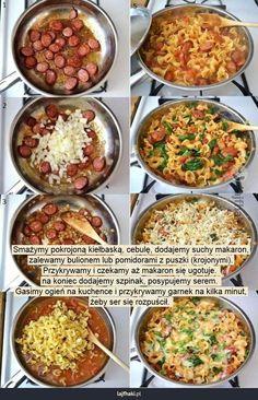 Tani obiad studencki - Smażymy pokrojoną kiełbaską, cebulę, dodajemy suchy makaron, zalewamy bulionem lub pomidorami z puszki (krojonymi). Przykrywamy i czekamy aż makaron się ugotuje.  na koniec dodajemy szpinak, posypujemy serem.  Gasimy ogień na kuchence i przykrywamy garnek na kilka minut, żeby ser się rozpuścił.
