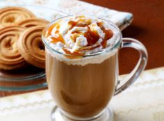 Make a delicious coffee drink at home with Marzetti's Old Fashioned Caramel Dip, chocolate sauce and milk.