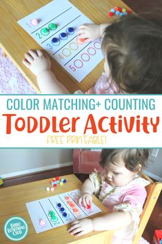 ) – Little Learning Club Color Matching + Counting Activity (Printable Included!) – Little Learning Club,Montessori rooms and toys Color Matching + Counting Activity (Printable Included! Sensory Activities Toddlers, Counting Activities, Outdoor Activities For Kids, Kids Learning Activities, Infant Activities, Counting For Toddlers, Sensory Play, Toddler Learning Games, 3 Year Old Montessori Activities