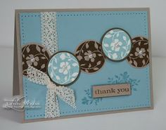 SU! Floral circles from the Just Believe set in Soft Suede on Crumb Cake and in Baja Breeze on Very Vanilla - Lynn Weiss