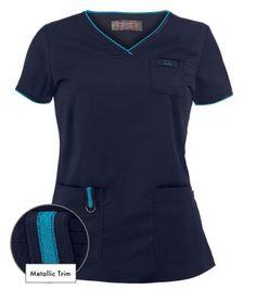 Koi Scrubs Limited Edition Nicole Top in Navy with Ultramarine - Style # K247MLE #uniformadvantage #koiscrubs #medicalscrubs #nurse #dental #veterinary