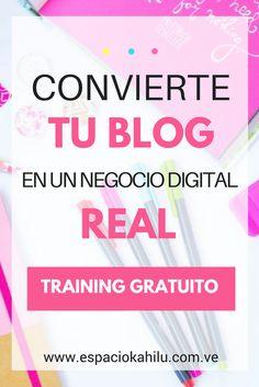Convierte tu blog en un negocio digital real con el training gratuito, de blog a negocio. Una serie de video súper completo con todos los detalles para optimizar tu blog y empezar a tratarlo como un negocio digital real. |blogger|blog|blogspot|curso online| curso gratuito| recursos para blogger| blogueras| como empezar un blog| emprender online.