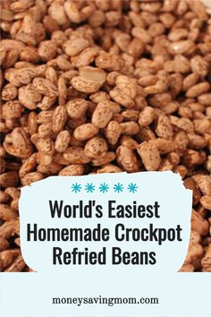 This is the EASIEST way to make homemade crockpot refried beans!!! Making refried beans from scratch with this recipe transforms a rather boring side dish to a flavor packed feature! Crockpot Refried Beans, Homemade Refried Beans, Freezer Cooking, Cooking Tips, Frugal Meals, Easy Meals, Healthy Snacks, Healthy Recipes, Money Saving Mom