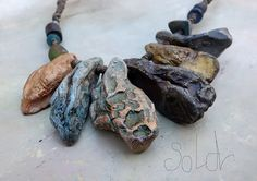 Geology and rock pools necklace | Grey Bird Studio, polymer clay.