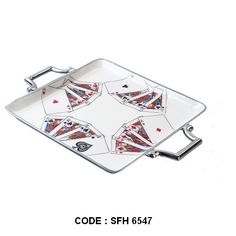 Square Playing Cards Serving Tray Both decorative and functional, the Playing Cards Tray makes a unique gift and tabletop accessory. This Aluminum tray features Ace, King, Queen, and Jack in all four suits and has handles for easy transport. The interior surface is pure white food grade enamelled. Use it to serve and earn points in your next poker night. Tray is manufactured by using high quality aluminium ingots.Tray is handmade.Glossy enamel color inside the tray & silver polished outside.