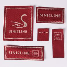 Woven label, Fabric Labels. #labeling #sinicline #branding Fabric Labels, Clothing Labels, Printing Labels, Tags, Business Card Design, Drink Sleeves, Card Holder, Branding, Card Designs