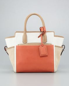 Mini Atlantique Tote Bag, Natural/Saturn by Reed Krakoff at Neiman Marcus.