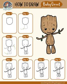 Learn how to draw a Baby Groot with these super easy steps Great for kids and beginners! You will need a paper or sketchbook, pencil, e… The post Learn how to draw a Baby Groot with these super ea… appeared first on Best Pins for Yours - Drawing Ideas Easy Disney Drawings, Easy Pencil Drawings, Easy Doodles Drawings, Easy Doodle Art, Easy Drawings For Kids, Drawing For Kids, Cute Drawings, Pencil Art, Pencil Eraser