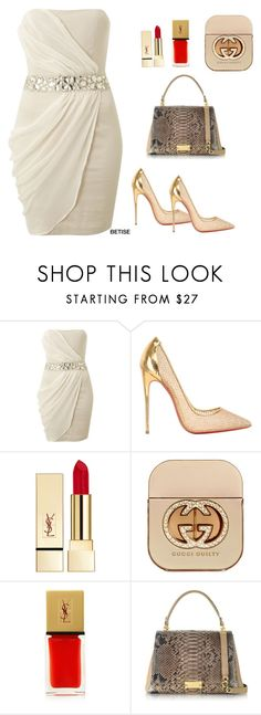 """WHITE IS THE COLOR..!"" by betty-sanga ❤ liked on Polyvore featuring AX Paris, Christian Louboutin, PUR, Gucci, Yves Saint Laurent and Ghibli"