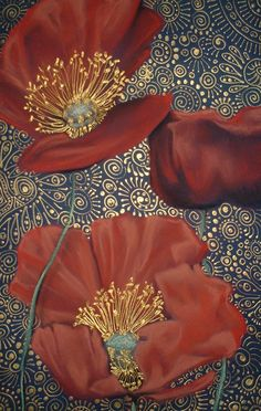 Three Red Poppies  by Cherie Roe Dirksen