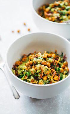 Rainbow Power Salad with Roasted Chickpeas #chickpea #salad #recipe