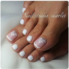 Wedding Nails Toes French Tips Fuss nägel<br> 15 adorable toe nail designs and ideas. i bought a new pair of peep toe shoes last week they are in light color and pair any outfit well i think i should make a adorable toe nail art to pair my peep. Wedding Toe Nails, Wedding Nails Design, Wedding Toes, Wedding Pedicure, Bridal Toe Nails, Bridal Nail Art, Purple Wedding Nails, Wedding Ceremony, Wedding Art