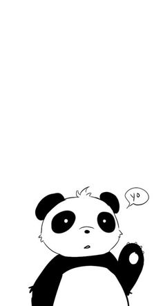 Black white Yo Panda iphone wallpaper phone background lock screen