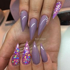 Love the glitter and the lavender.