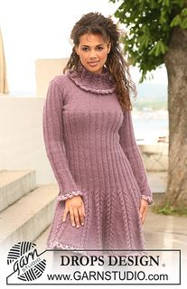 """Knitted DROPS dress in """"Alpaca"""" and """"Kid-Silk"""" with crochet borders in """"Cotton Viscose"""". Size XS to XXL ~ DROPS Design. Lace Summer Dresses, Short Lace Dress, Drops Design, Magazine Drops, Knitting Patterns Free, Free Pattern, Free Knitting, Crochet Patterns, Alpacas"""