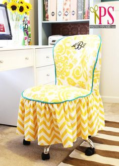 DIY Tutorial: Slipcovers / DIY OFFICE CHAIR SLIPCOVER - Bead&Cord Cute idea to cover chairs for a photo prop.