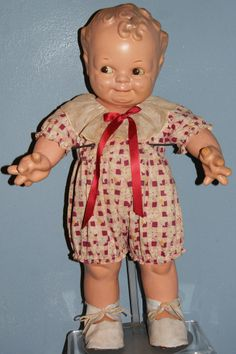 """Antique Kewpie Rose O'Neill Scootles Sleep Eyes Composition Large 21"""""""