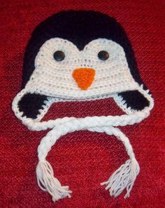 Penguin Hat with earflaps and ties custom sized by megscutekidshop, $18.00