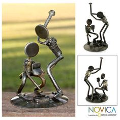 Recycled Metal 'Rustic Baseball Players' Iron Sculpture (Mexico) | Overstock.com