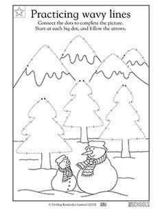 What's behind these snowmen? Your child gets practice tracing wavy lines to complete the picture, which will be filled with various shapes, in this coloring worksheet.