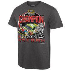 Kyle Busch 2015 Sprint Cup Champion M&M's Victory Lane T-Shirt - Charcoal - $18.99