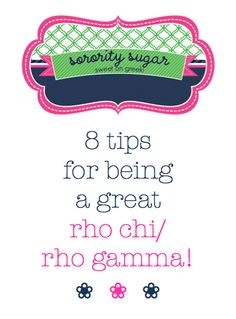 BLOG LINK:  http://sororitysugar.tumblr.com/post/40561944393/rush-talk-how-to-prepare-for-being-a-rho-chi-rho#notes