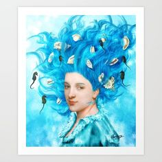 Whispering Songs, by Diogo Veríssimo #dverissimo #illustration #collage #painting #vintage #fantasy #dream #surreal #woman #girl #water #underwater #hair #seahorses #songs #melody #wallart #shells