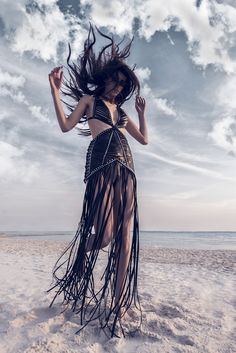 YVY- 1001 collection- Leather Star Fringe Dress www.yvy.ch