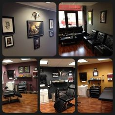 The new shop is starting to come together! Barber Shop Interior, Shop Interior Design, Tattoo Shop Decor, Tattoo Studio Interior, Basic Tattoos, Shop Interiors, Home Office Design, Interior Exterior, Living Room Designs