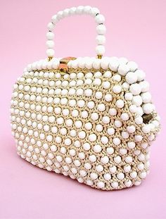Manufactured in the 1950 in Italy by Rosenfeld, the company was known for their crochet bags and this is an excellent example. It is made with ivory crochet with faceted white beads and a matching handle. It is lined In ivory grosgrain. Crochet Handbags, Crochet Purses, Crochet Bags, Beaded Purses, Beaded Bags, Vintage Purses, Vintage Handbags, Best Handbags, Purses And Handbags