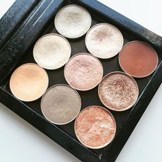 mua_sarahxo My favourite neutral shades of Makeup Geek shadows are kept in my small ZPallette. Shades are Peach Smoothie, Vanilla Bean, Bling, Hipster, Cinderella, Shimma Shimma, In the Spotlight, Grandstand and Cocoa Bear.