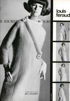 1964 Louis Feraud Vintage Coat, Vintage Clothing, Vintage Outfits, Guy Laroche, 1960s Fashion, High Fashion, Vintage Fashion, Dior, Brigitte Bardot