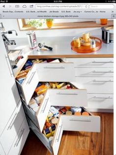 Instead of corner cabinet like these drawers