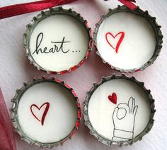 Hand Holding Red Heart- 4 Up-Cycled Bottle Cap Magnets with Red Organza Bag