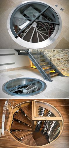 In a tight space, this would be great. I'm sure Luc would have these in several homes. | Spiral Wine Cellar Under Floor