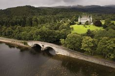 View of Inveraray Castle from Loch Fyne. It is  the ancestral home of the Dukes of Argyll, Chiefs of Clan Campbell. Inveraray, Argyll, Scotland, UK